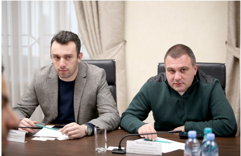 Revaz Sokhadze, Chairman of Urban Planning and Urban Commission of Tbilisi City Council and Otar Grigolia, Chairman of Financial-Budget and Property Management Commission